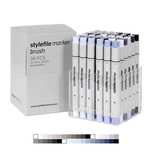 Brush Dual-Tip Marker Set - Grey (36-pc)