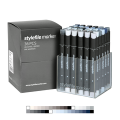 Classic Dual-Tip Marker Set - Grey (36-pc)