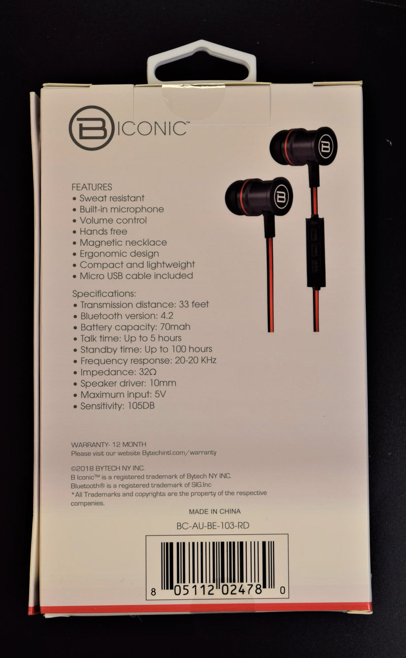 Biconic Wireless Stereo Earbuds Red