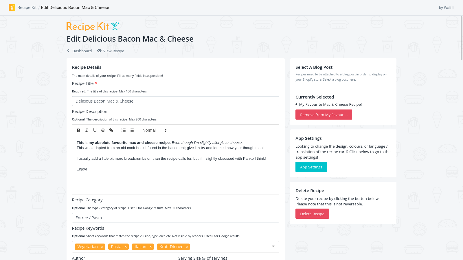 Create a recipe card in Recipe Kit and attach it to your Shopify store blog post!
