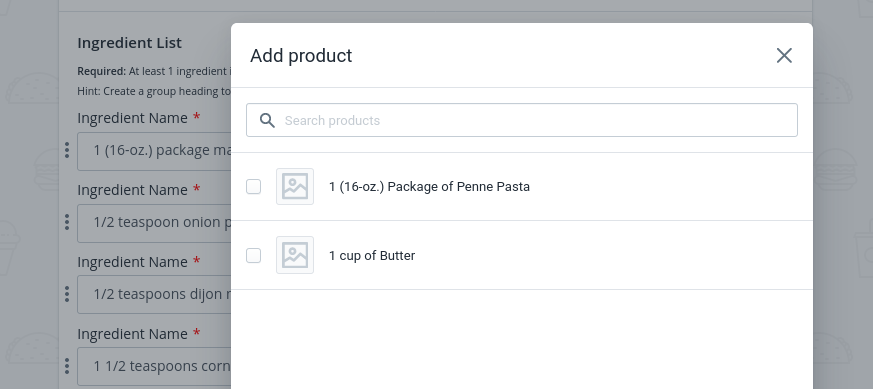 Attach your Shopify store's products as ingredients to a recipe card