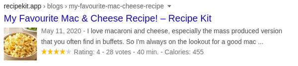 Recipe Kit auto-generates your recipe card schema to display in Google