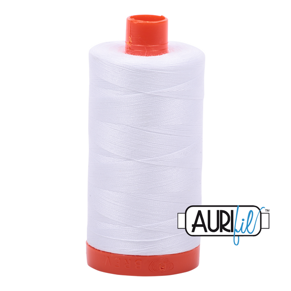 Aurifil White Mako Cotton Thread Solid 50wt 1422yds  2024