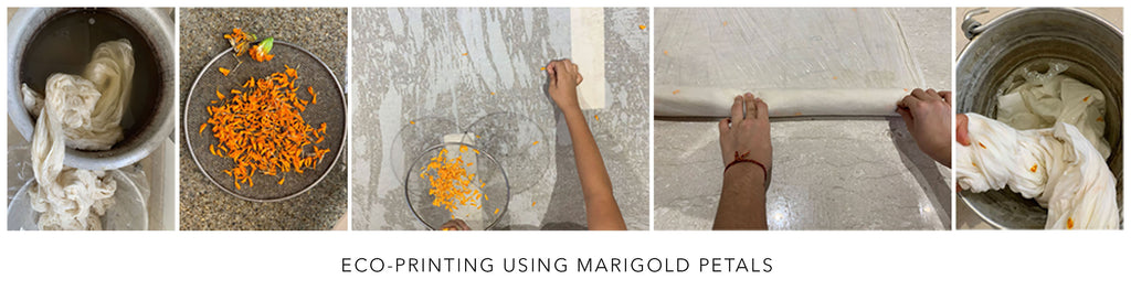 eco printing using marigold leaves