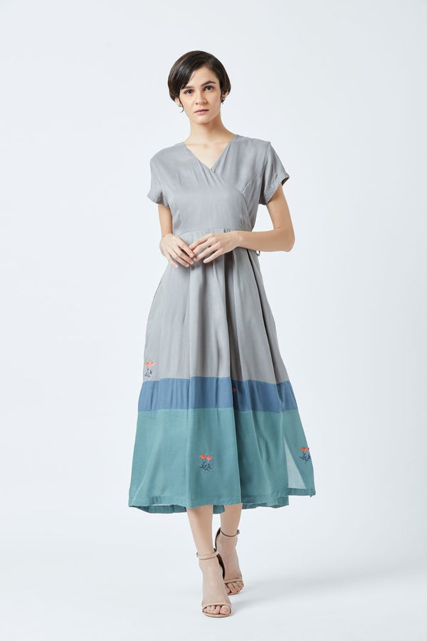 Overlap Pleated Dress