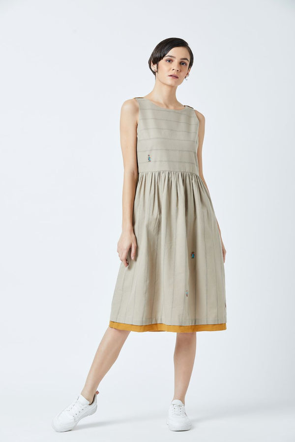 Angela Beige Stripe Dress