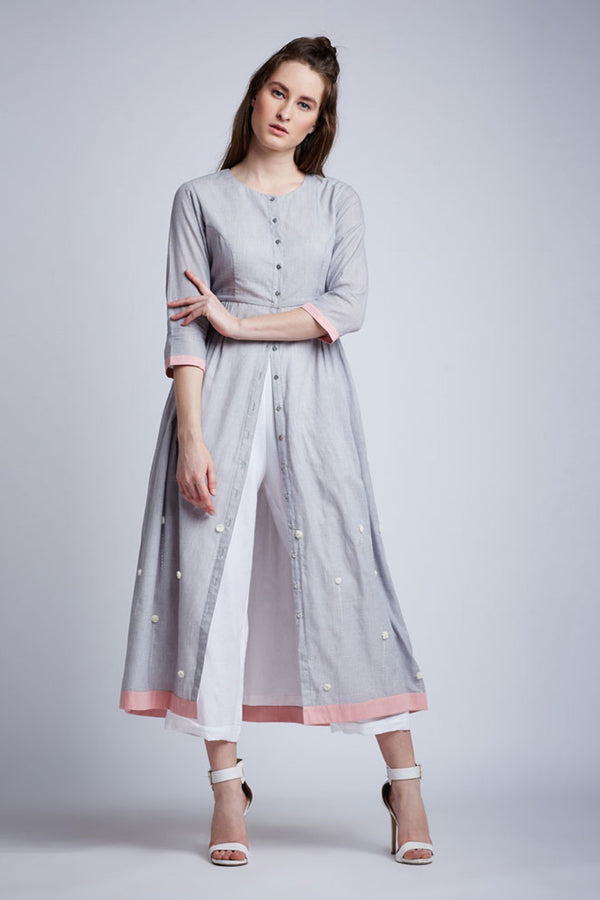Side Gathered Dress With Floral Emb(Grey) And Pants