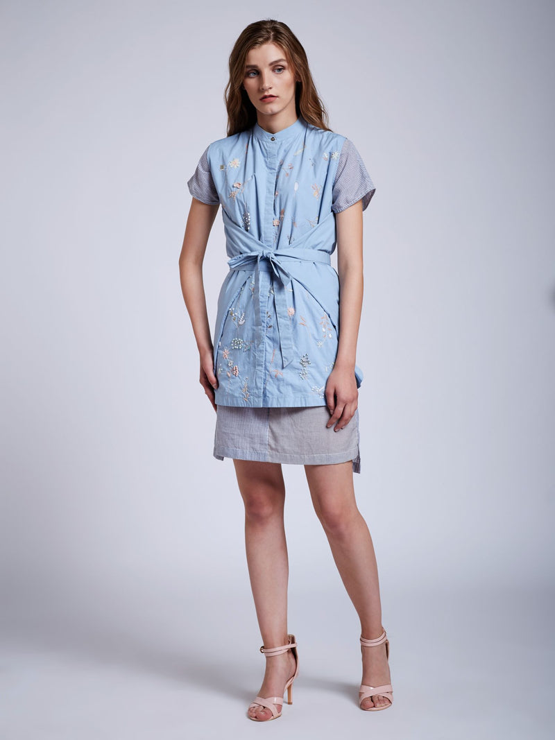 Front Knot Shirt With Emb