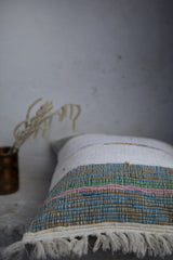 Pastel Offwhite cushion cover with Tassels