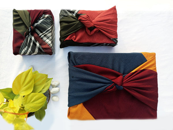 Reusable Set of Furoshiki Pouch and Gift Wrap