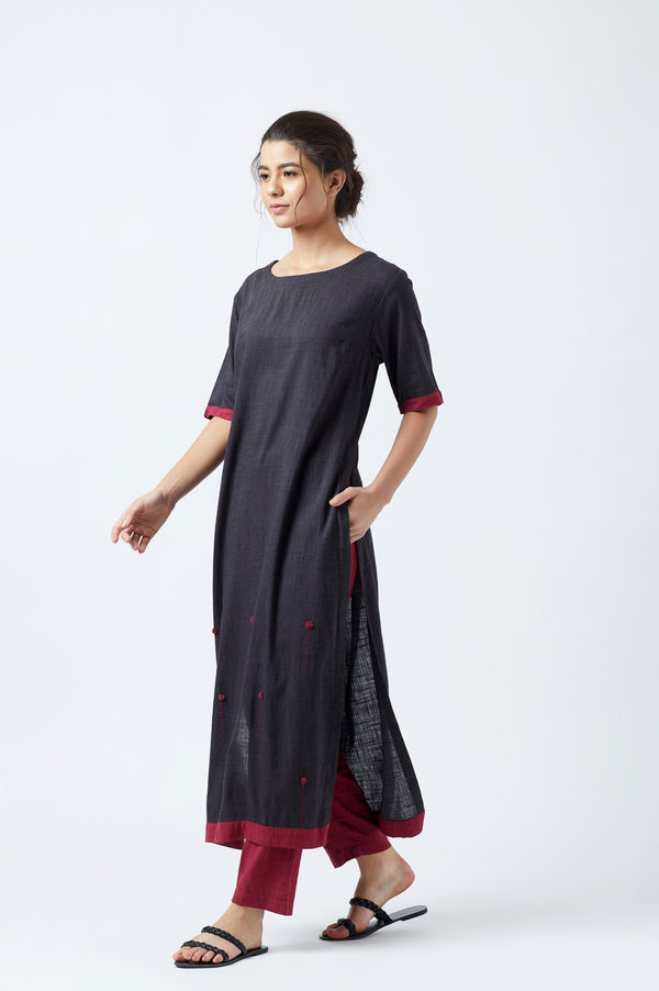 Black Floral Embroidered Tunic with Pants