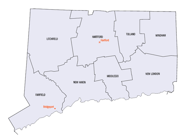 State Map of Connecticut