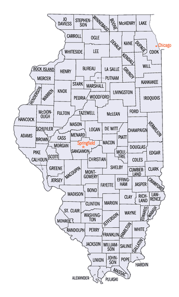 State map of Illinois