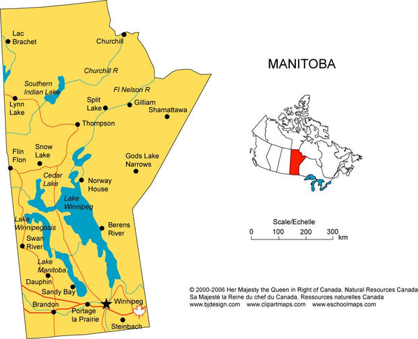 Map of Manitoba Province