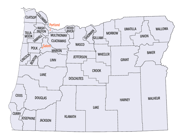 Map of Oregon State