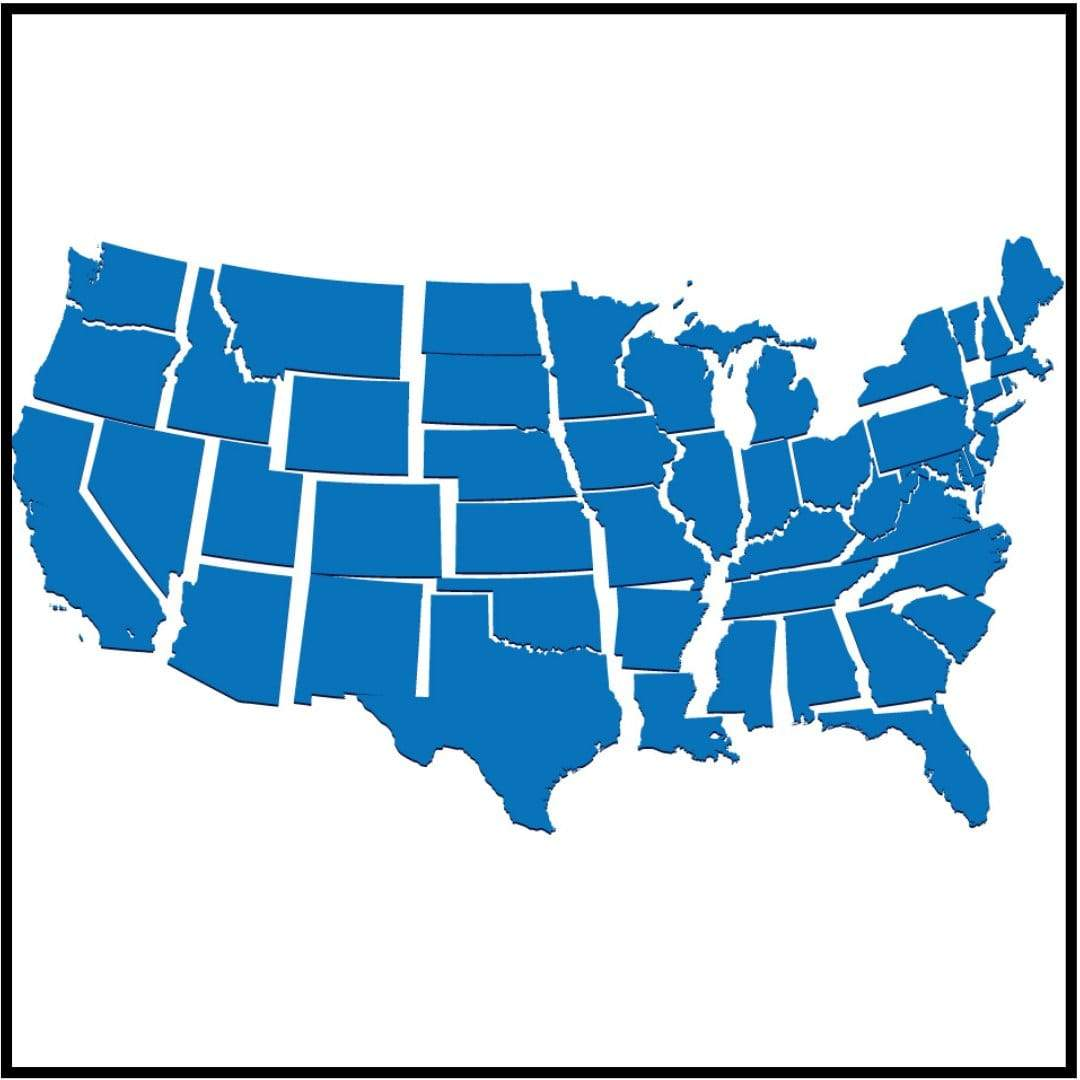 Map of US with separation between states