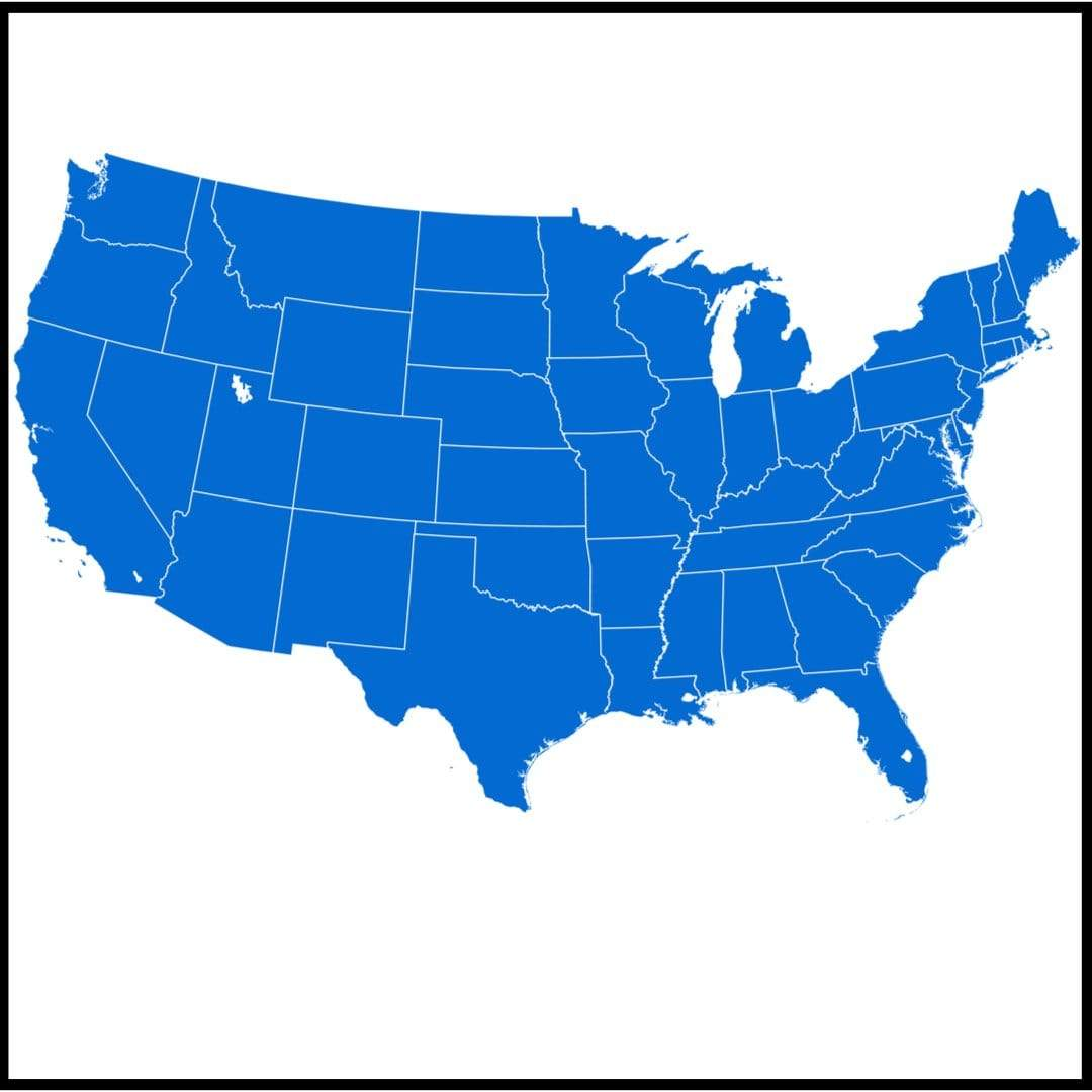 Map of the US with no separation