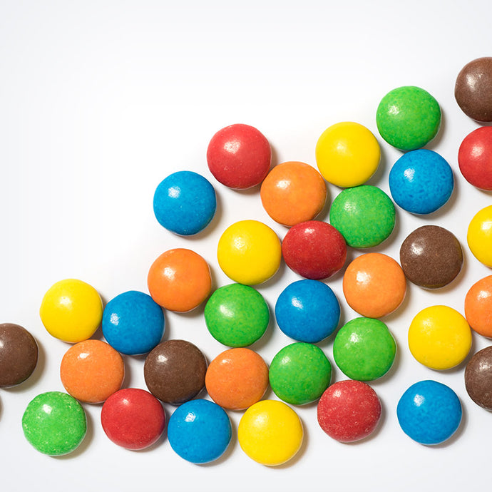 M&Ms candy on table