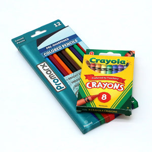box of colored pencils and box of crayons