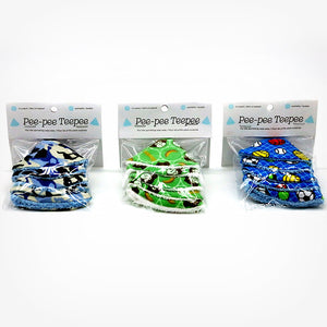 Pee-pee Teepees 5 packs in a variety of colors and designs