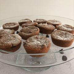 finished chocolate chip chai muffins using kimbala chai concentrate, removed from muffin tin and arranged on a glass platter