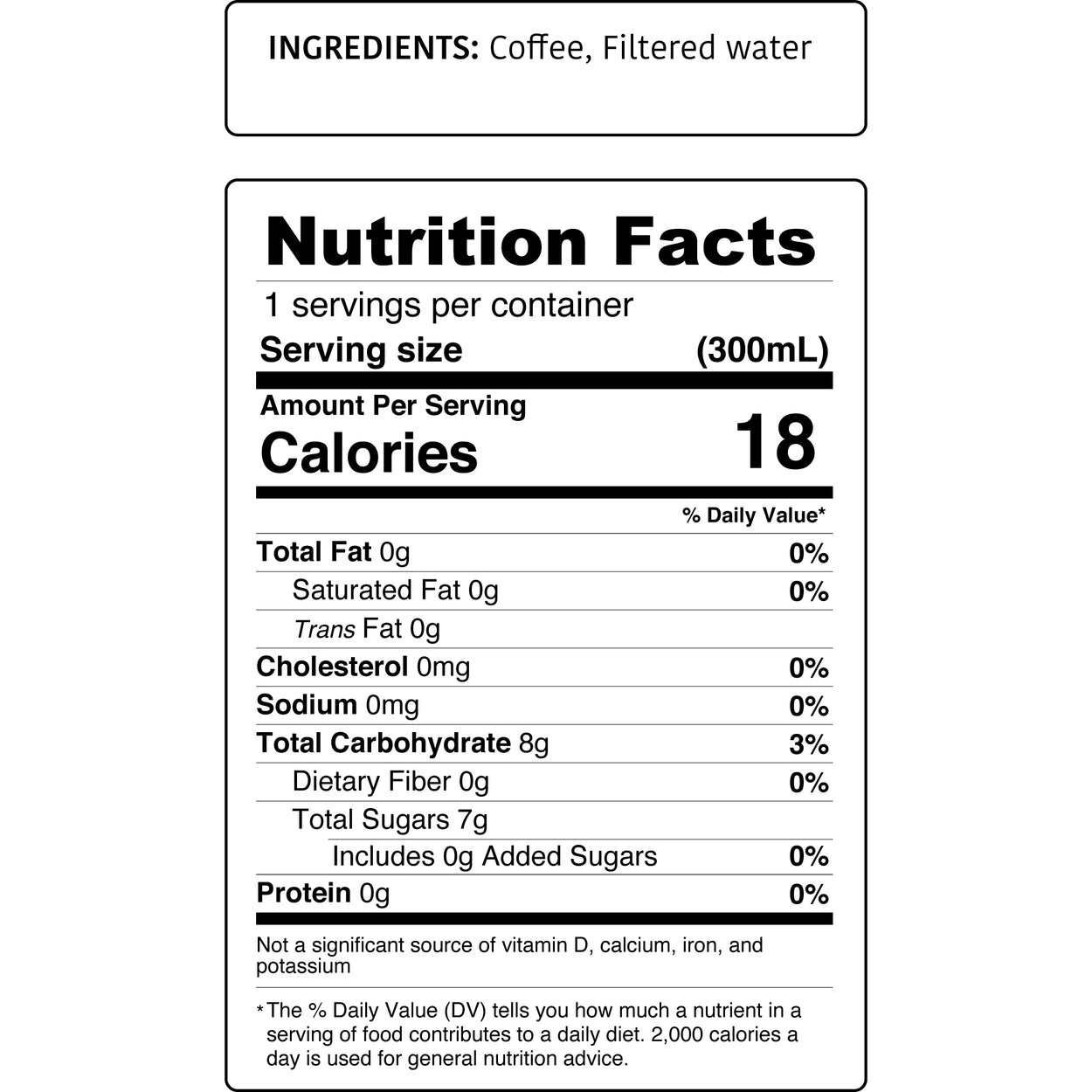 Kimbala Coffee Neat nutrition facts for 10.2oz bottle