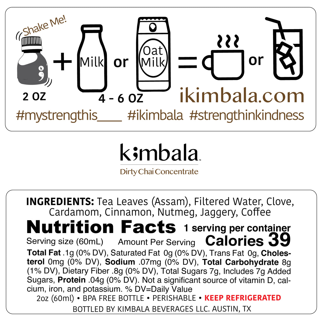 Kimbala dirty chai concentrate nutrition facts for 2oz bottle