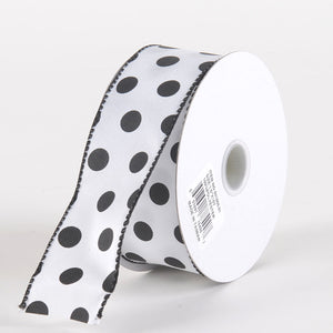 Satin Polka Dot Ribbon Wired White with Black Dots ( W: 1-1/2 inch | L: 10 Yards )