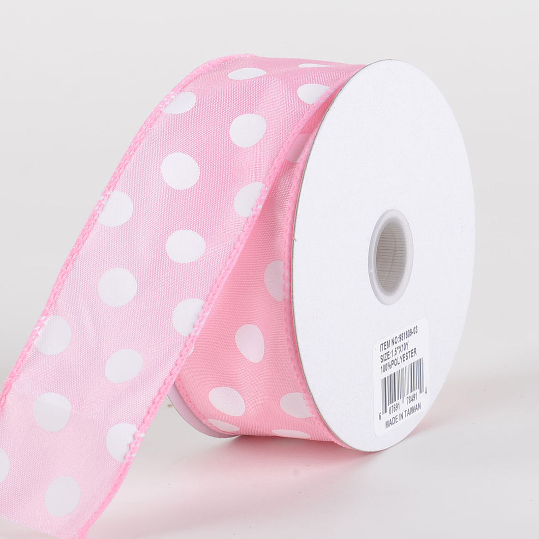 Satin Polka Dot Ribbon Wired Pink with White Dots ( W: 1-1/2 inch | L: 10 Yards )
