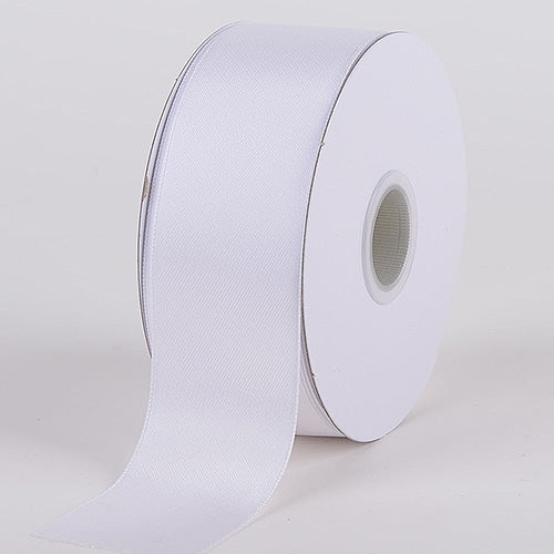 2-1/2 inch White Satin Ribbon Wired Edge