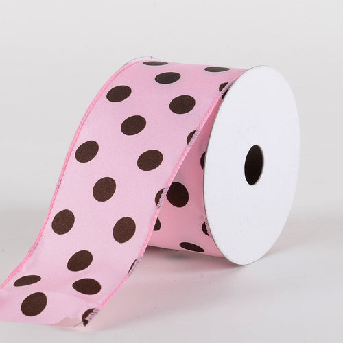 Satin Polka Dot Ribbon Wired Pink with Chocolate Dots ( W: 2-1/2 inch | L: 10 Yards )