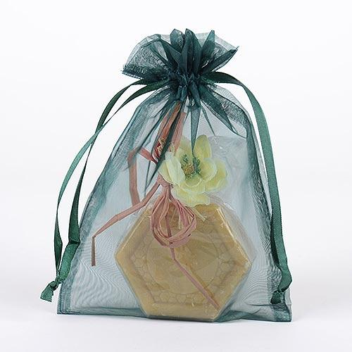 Hunter Green  - Organza Bags - ( 6 x 9 Inch - 10 Bags )