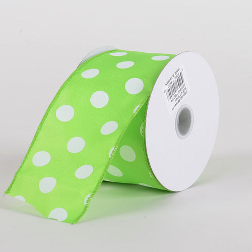 Satin Polka Dot Ribbon Wired Lime Green with White Dots ( W: 2-1/2 inch | L: 10 Yards )