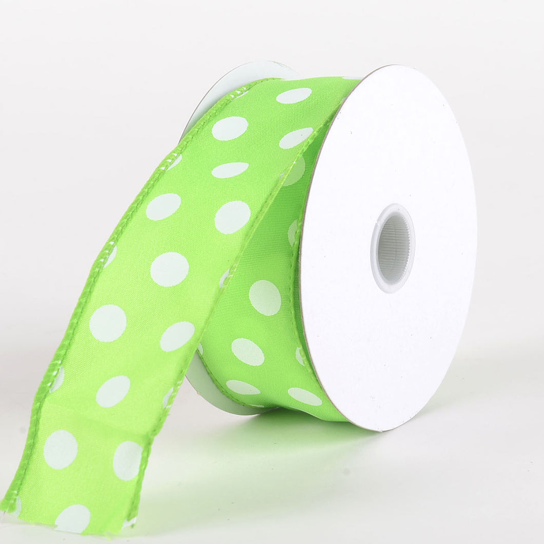 Satin Polka Dot Ribbon Wired Lime Green with White Dots ( W: 1-1/2 inch | L: 10 Yards )