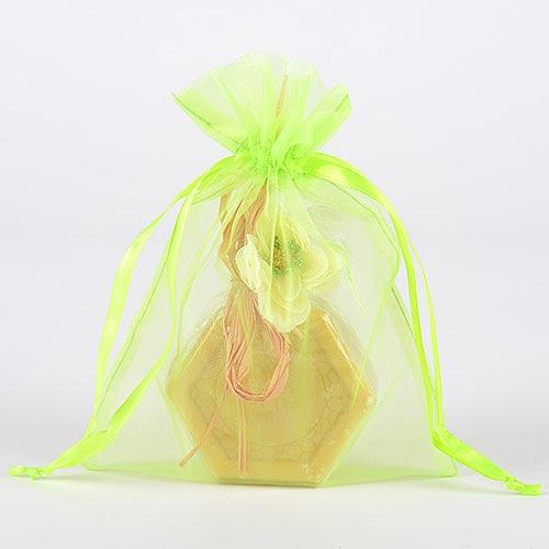 Apple Green - Organza Bags - ( 6x15 Inch - 6 Bags )