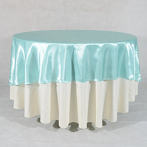 "108 Inch Aqua Blue 108"" Satin Round Tablecloths"