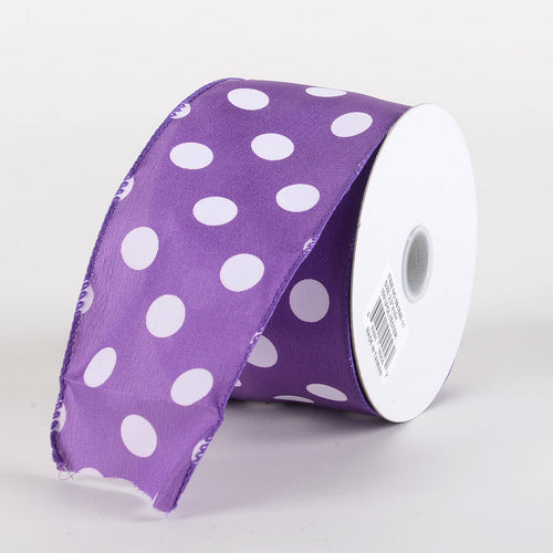 Satin Polka Dot Ribbon Wired  Purple with White Dots ( W: 2-1/2 inch | L: 10 Yards )