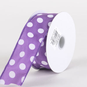 Satin Polka Dot Ribbon Wired Purple with White Dots ( W: 1-1/2 inch | L: 10 Yards )