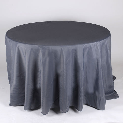 Charcoal - 120 Inch Polyester Round Tablecloths - FuzzyFabric