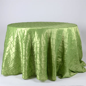 "120 Inch Apple Green 120"" Round Pintuck Satin Tablecloths"