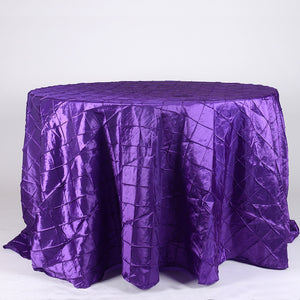 "120 Inch Purple 120"" Round Pintuck Satin Tablecloths"