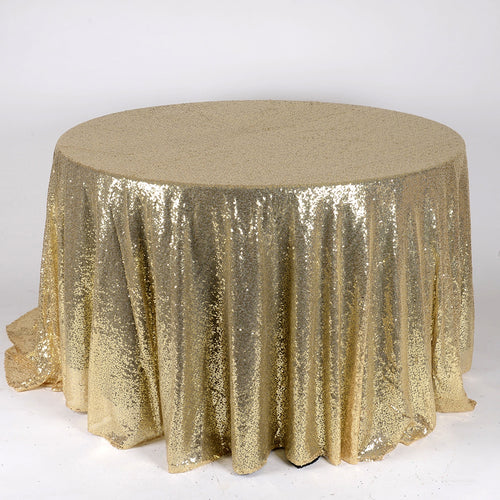 Champagne 120 Inch Round Duchess Sequin Tablecloths
