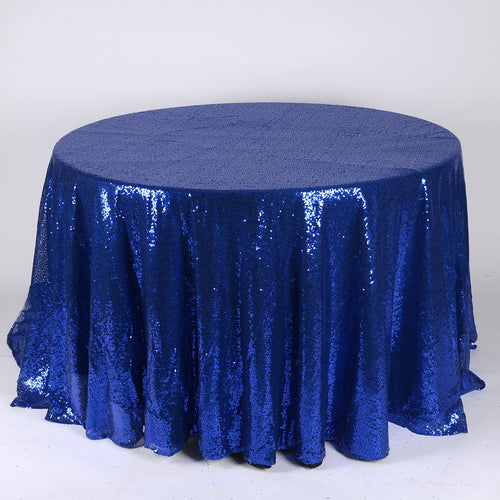 Navy Blue - 120 inch Duchess Sequin Round Tablecloths - FuzzyFabric