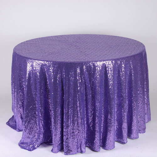 Purple - 120 inch Duchess Sequin Round Tablecloths - FuzzyFabric