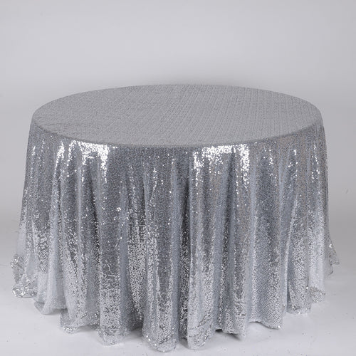 Silver 120 Inch Round Duchess Sequin Tablecloths