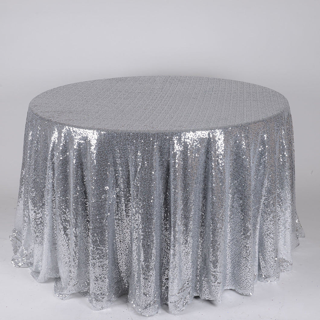 Silver - 120 inch Duchess Sequin Round Tablecloths - FuzzyFabric