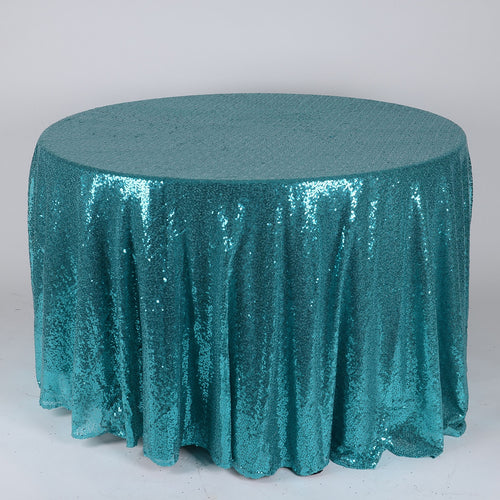 Turquoise 120 Inch Round Duchess Sequin Tablecloths