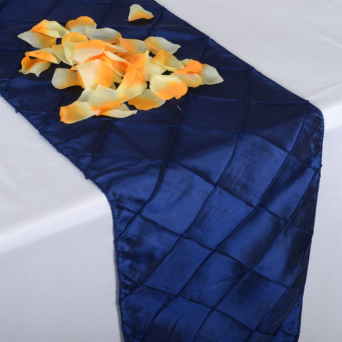 Navy - 12 x 108 inch Pintuck Satin Table Runners - FuzzyFabric