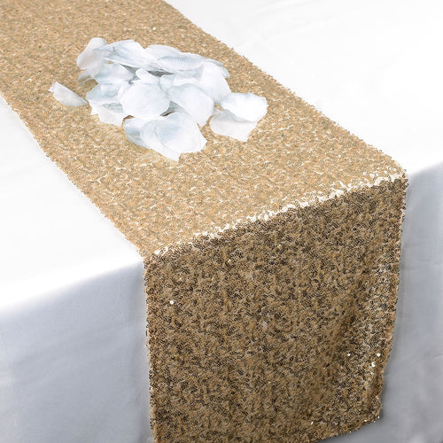 Champagne - 12 x 108 Inch Duchess Sequin Table Runners - FuzzyFabric