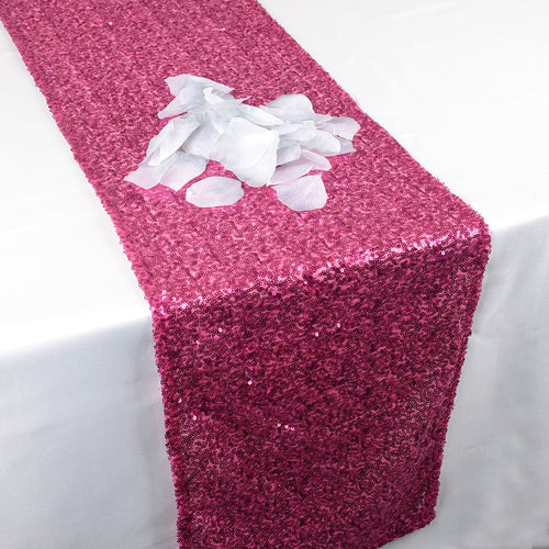 Fuchsia - 12 x 108 Inch Duchess Sequin Table Runners - FuzzyFabric